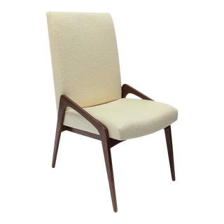 Set of Ten Custom Mid-Century Style Walnut Dining Chairs in Ivory Linen For Sale
