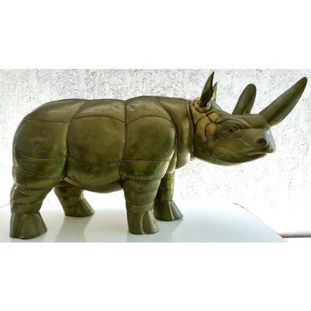 Sergio Bustamante Brass Rhino Sculpture for SerMel For Sale - Image 13 of 13