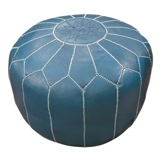 Moroccan Turquoise Leather Pouf For Sale