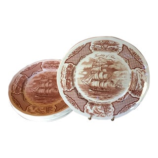Staffordshire Alfred Meakin Fair Winds Dinner Plates - Set of 6 For Sale