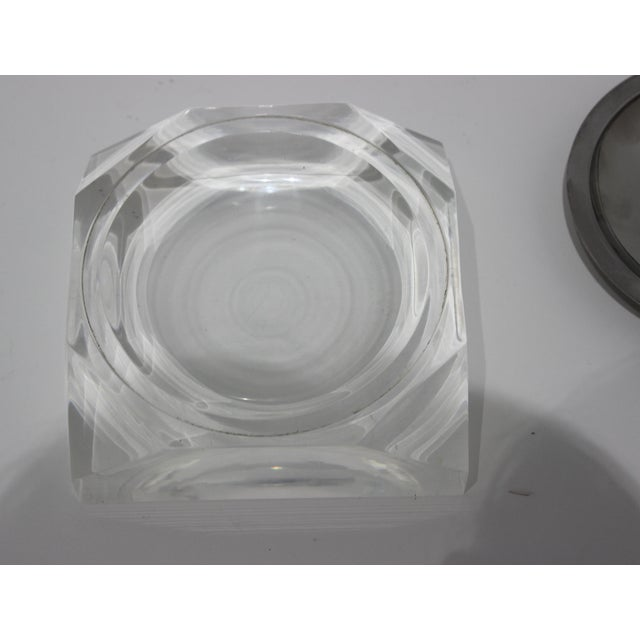 Metal Octagonal Lucite & Stainless Steel Candy or Nut Dish Bowl For Sale - Image 7 of 10