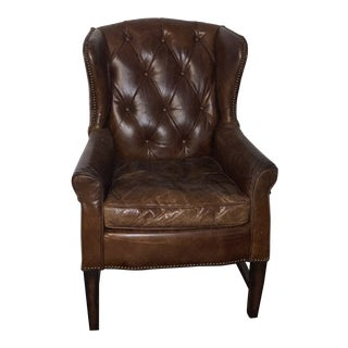 Modern Tufted Leather Wing Chair For Sale