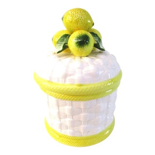 1980s Vintage Ceramic Lemon Canister For Sale