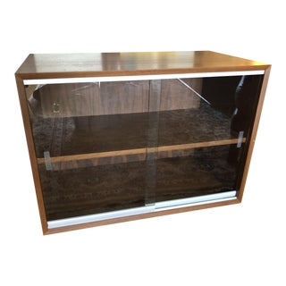 1940s Danish Modern Nelson Basic Cabinet With Glass Sliding Doors For Sale