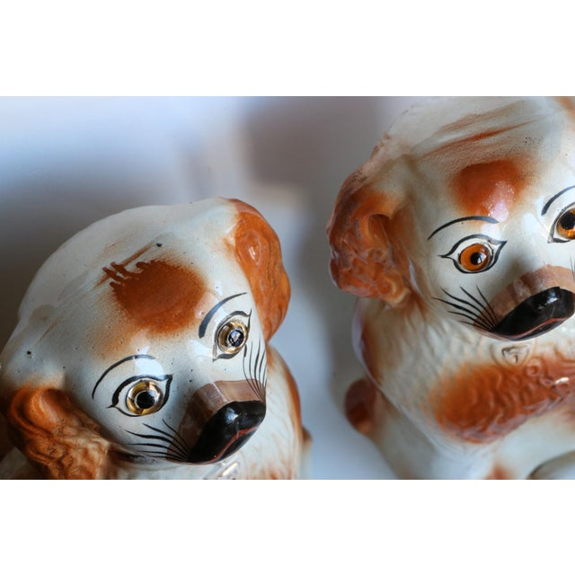 Brown Antique Staffordshire Mantel Dogs - a Pair For Sale - Image 8 of 10