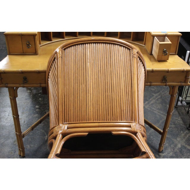 Bamboo Ficks Reed Writing Desk & Chair - a Pair For Sale - Image 7 of 11