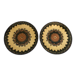 2 Handmade Bulgarian Pottery Wall Plates For Sale