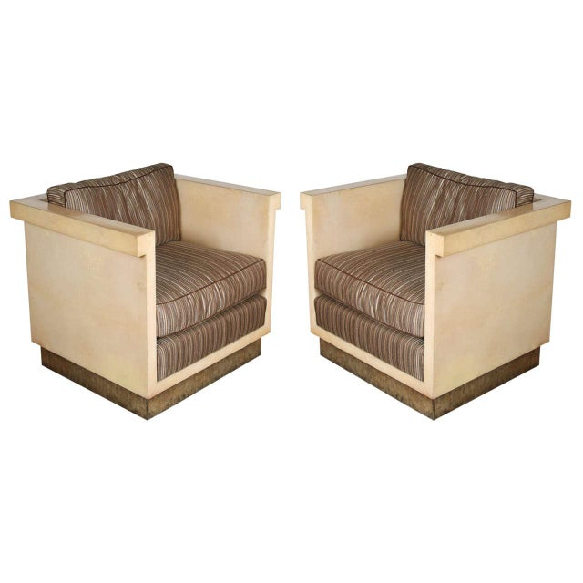 1970s Inspired Large Parchment Club Chairs - a Pair For Sale - Image 9 of 9