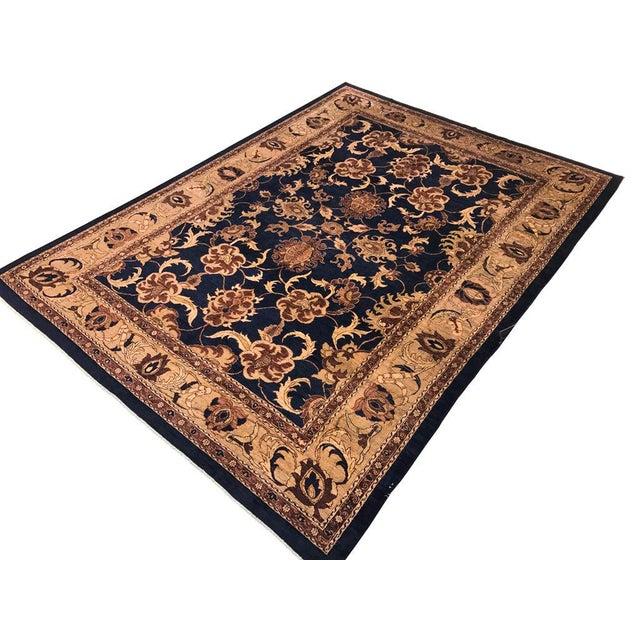 Textile Kafkaz Peshawar Marianne Blue & Dark Gold Wool Rug - 10' x 14' For Sale - Image 7 of 7