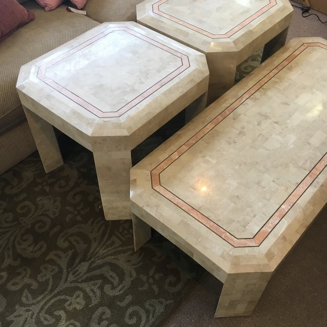 Traditional Tessellated Fossil Coral Cocktail & End Tables - Set of 3 For Sale - Image 3 of 10
