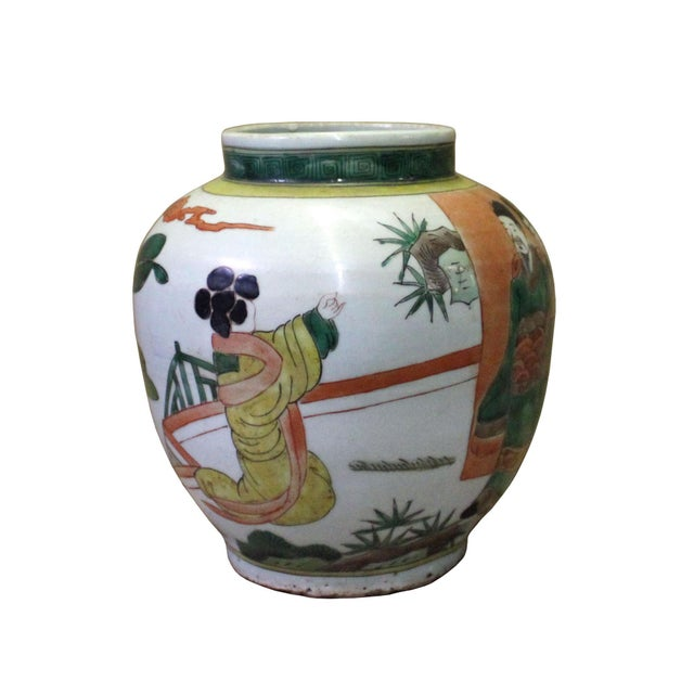 This is a handmade Chinese accent decorative vase jar with oriental people scenery graphic on the body. Dimensions: Dia...