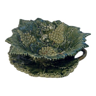 Vintage Gumps Caldas Portugal Faience Majolica Pierced Green Bowl and Platter - 2 Piece Set For Sale