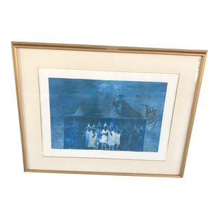 1982 Modernist Abstract Print by Francisco Ruiz, Framed For Sale