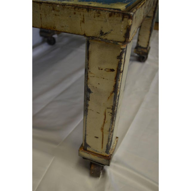 Worn Blue-Painted Coffee Table - Image 5 of 7