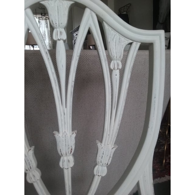 Anglo-Indian Vintage Hepplewhite Side Chairs Brunschwig Paisley Fabric - a Pair (6 Available) For Sale - Image 3 of 7