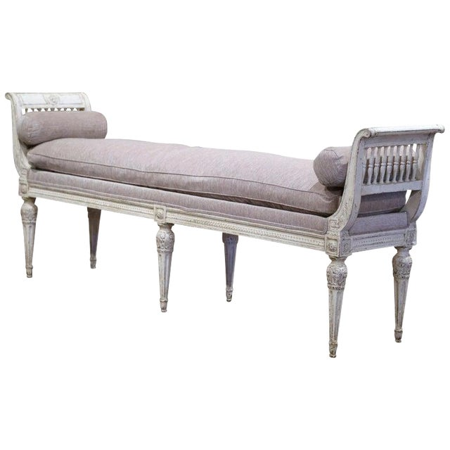 19th Century French Directoire Carved Painted Banquette With Back and Upholstery For Sale