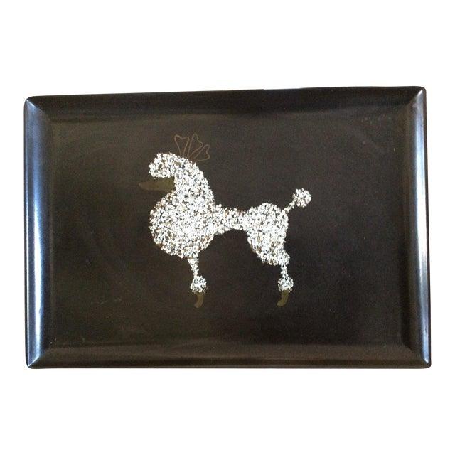 60s Black Poodle California Couro Abalone Tray - Image 1 of 8
