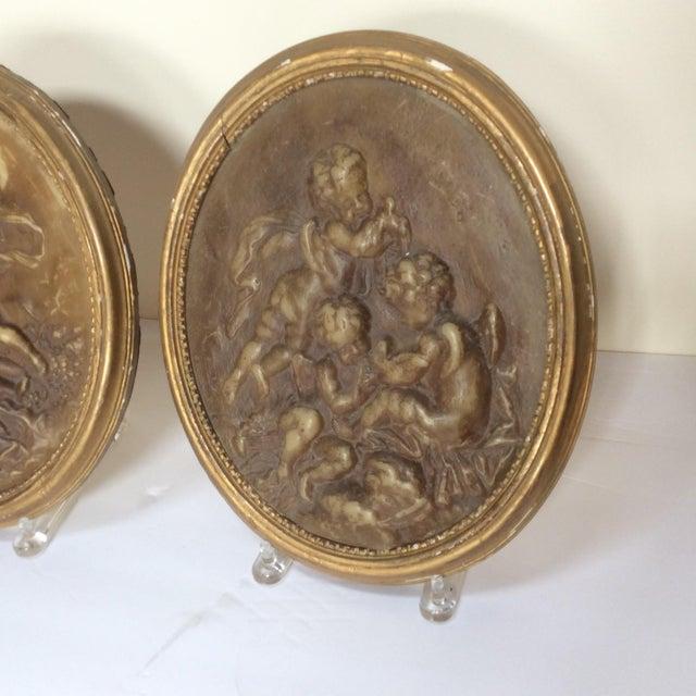 Antique Wax Cherub Reliefs - A Pair - Image 5 of 9