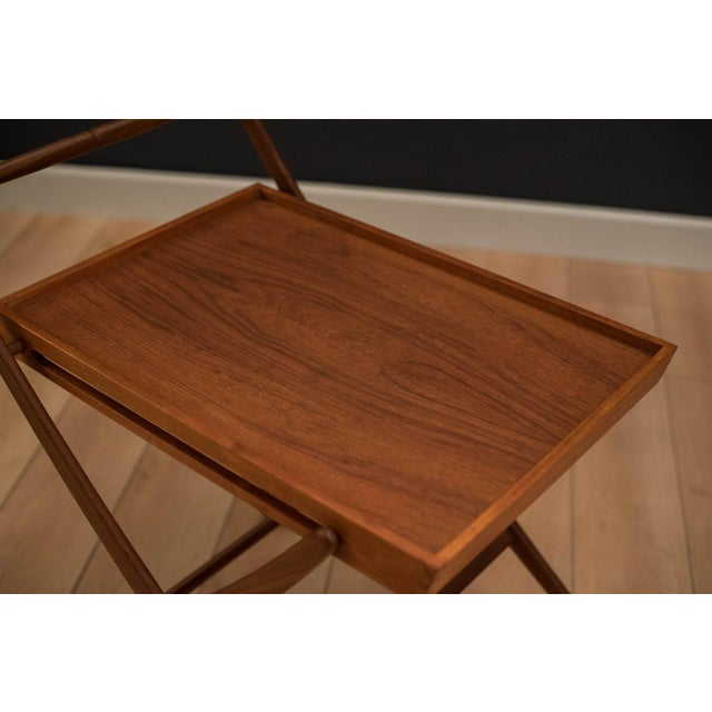 Danish Modern Teak Folding Bar Cart For Sale - Image 4 of 10