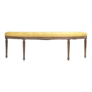 Leah Curved Bench in Yellow For Sale
