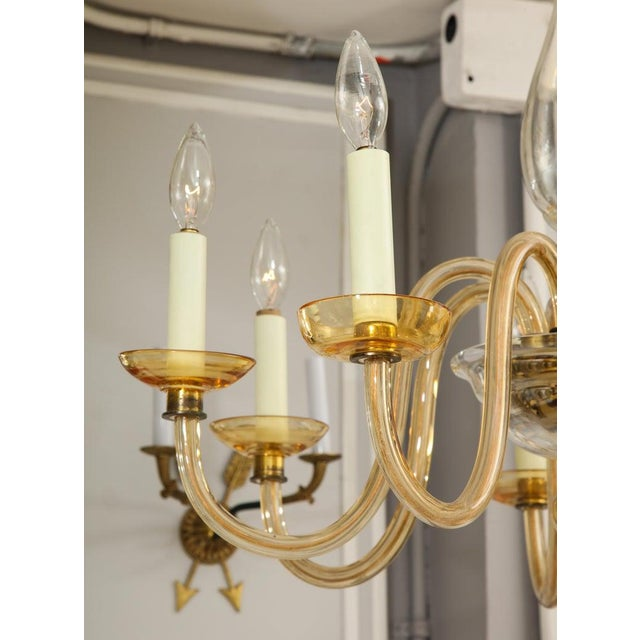 Amber Eight-Arm Murano Glass Chandelier For Sale - Image 4 of 8