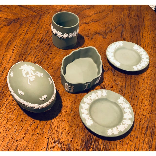 English Vintage Wedgwood Sage Green Jasperware Catchall Set- 5 Pieces For Sale - Image 3 of 12