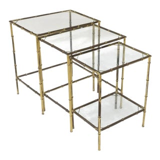 Mid-Century French Modern Brass & Glass Faux Bamboo Nesting, Side or End Tables - Set of 3 For Sale