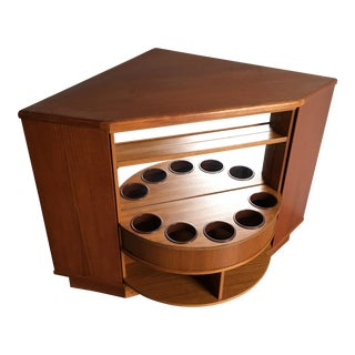 Vintage Mid Century Modern Teak Corner Bar Cabinet by Preben Shou Danish Furniture