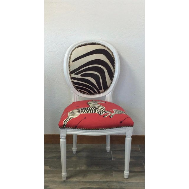 Chippendale Louis XV Style White Round Back Side Chair - Scalamandre Zebra Fabric For Sale - Image 3 of 5