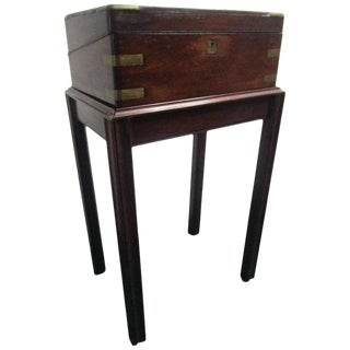 English Regency Mahogany Travelling Lap Desk With Secret Compartment, on Stand For Sale