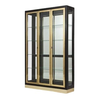 Black Lacquered and Brass Display Cabinets by Henredon For Sale