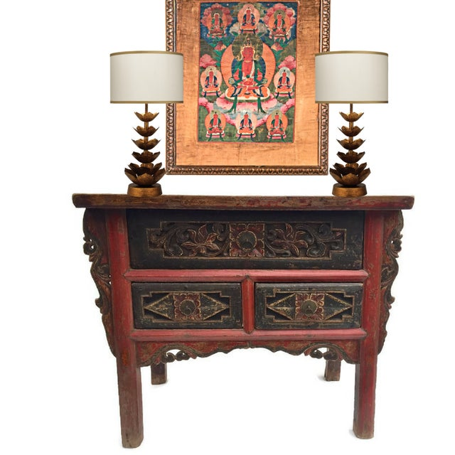 Asian Antique Tibetan Altar Console Table 3 Drawer Chest For Sale - Image 3 of 9