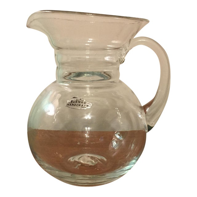 Vintage Blenko Clear Glass Pitcher - Image 1 of 9