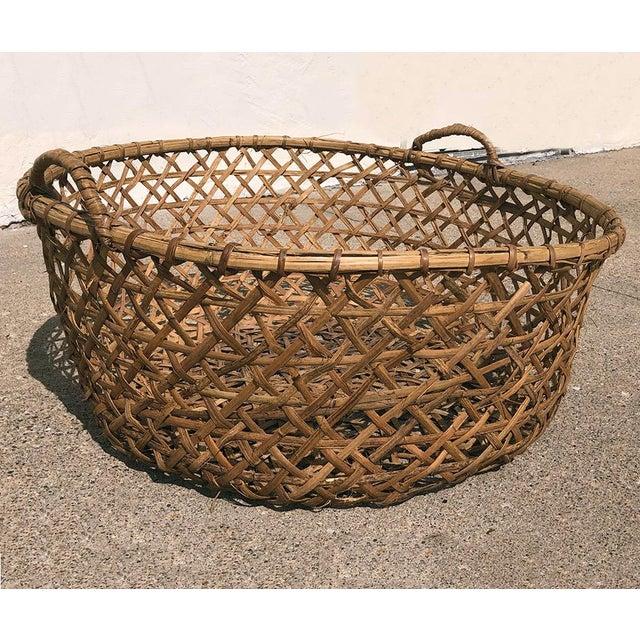 Mediterranean 1970s Vintage Boho Chic Rattan Blanket Basket For Sale - Image 3 of 4