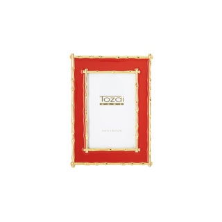 Tozai Home Bamboo Red Enamel Picture Frame