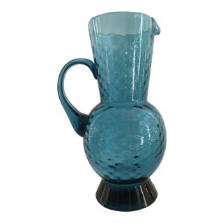 1960s Mid-Century Modern Turquoise Glass Vase For Sale