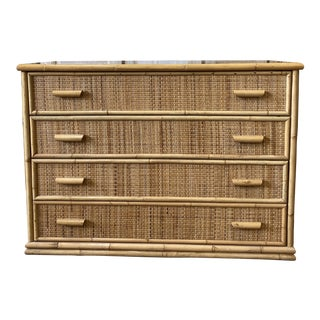 Mid Century Bamboo & Rattan Four Drawer Commode Dresser For Sale
