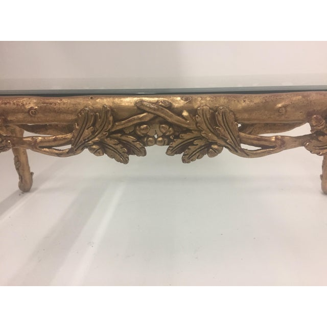 1960s Vintage Italian Faux Bois Hand Carved Gilded Wood Coffee Table For Sale - Image 9 of 13