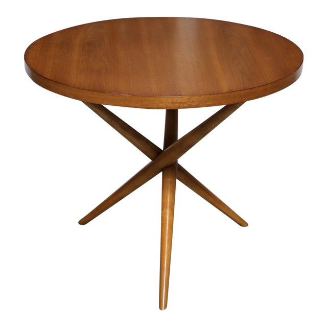 Brown Mid-Century Modern t.h. Robsjohn-Gibbings for Widdicomb Walnut Side Table For Sale - Image 8 of 8