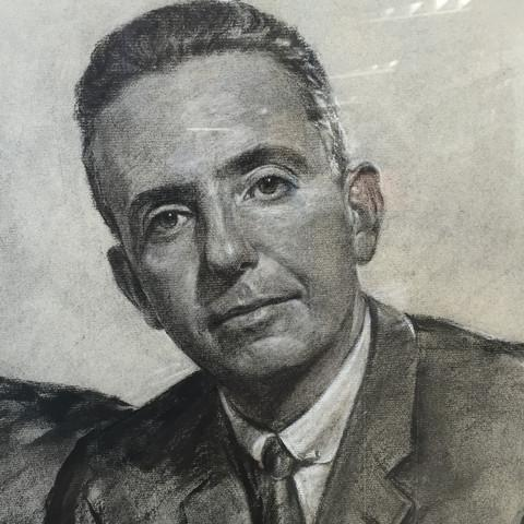 1960's Framed Charcoal Portrait Drawing For Sale - Image 4 of 5