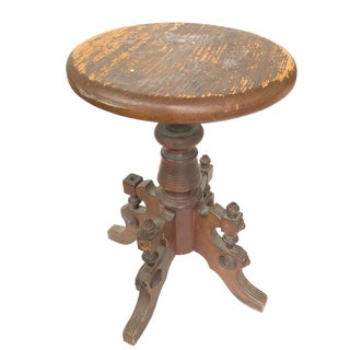 1900s Antique C Parker Co Wooden Victorian Stool For Sale