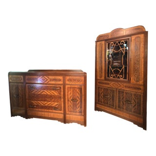 Art Deco Handpainted Faux Woodgrain Dining Cabinets - a Pair