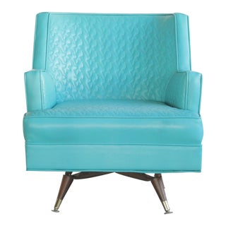 Mid Century Blue Swivel Lounge Chair For Sale
