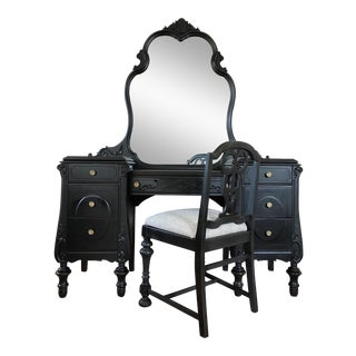 Joerns Brothers Black Mahogany Antique Make-Up Vanity With Chair