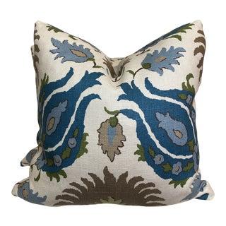 "Brunschwig & Fils ""Kashmiri Linen Print Teal/Taupe"" 22"" Pillows-A Pair For Sale"