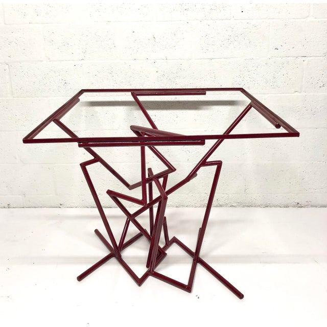Abstract Sculptural Enamel Metal Post Modern Table For Sale - Image 3 of 9