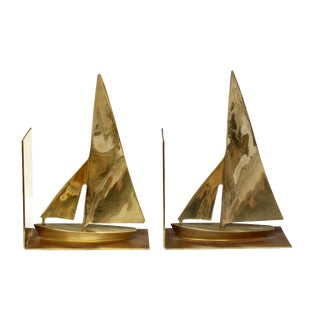 Brass Sail Boat Book Ends - A Pair