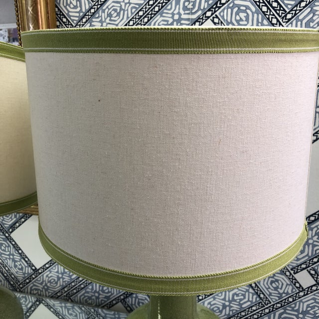 Custom Green Lamps with Shades - A Pair - Image 4 of 6