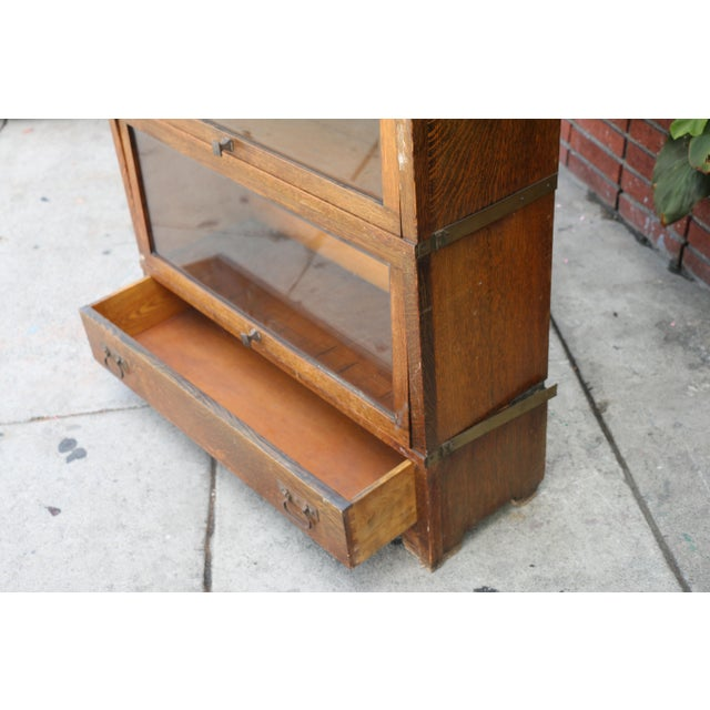 Brown Antique Lawyers Bookcase For Sale - Image 8 of 11