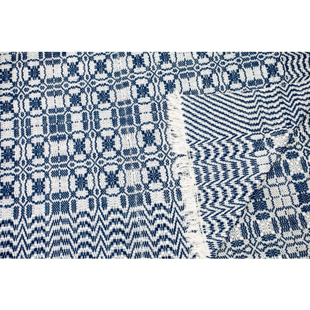 From Anna Brockway's Marburger picks. Antique woven blue and white coverlet in wool. Lightweight.
